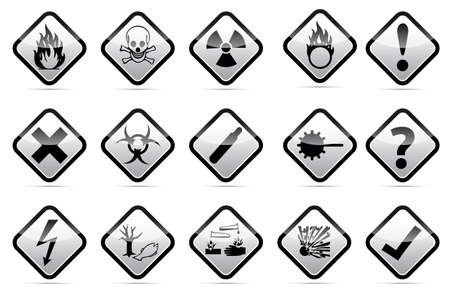 chemical hazard: Isolated vector orange Danger sign collection with black border, reflection and shadow on white background