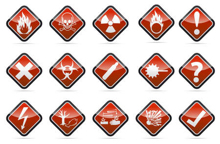 Isolated  orange Danger sign collection with black border, reflection and shadow on white background Stock Photo - 20170638