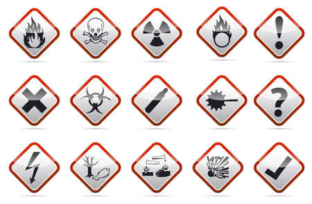 Isolated  orange Danger sign collection with black border, reflection and shadow on white background Stock Photo - 20170636