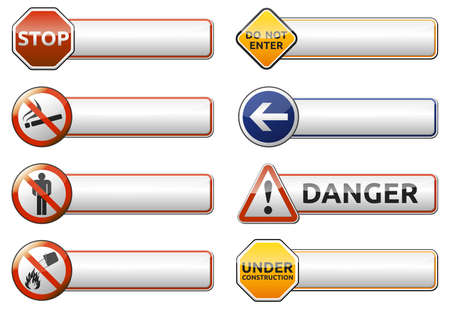 Isolated Danger, prohibition sign  symbol  banner collection with reflection on white background for your text photo