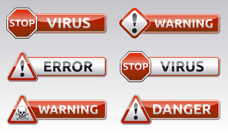 Isolated virus error, warning icon, sign collection with reflection and shadow on white background for your text photo
