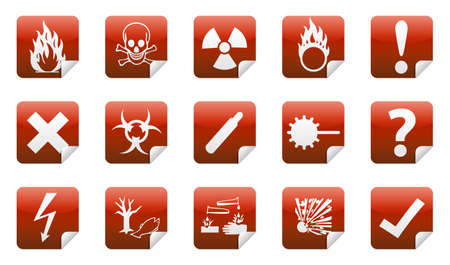 oxidant: Isolated Danger icon sign collection  set  with shadow on background