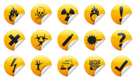Isolated Danger sign collection  set  with shadow on background Stock Photo - 20334388