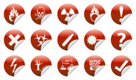 oxidizer: Isolated Danger icon sign collection  set  with shadow on background