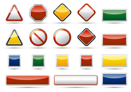 Isolated danger, warning, prohibition icon, sign, symbol collection set with reflection and shadow on white background Stock Photo - 20334392