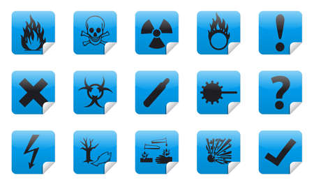 oxidant: Isolated Danger sign collection  set  with shadow on background Stock Photo