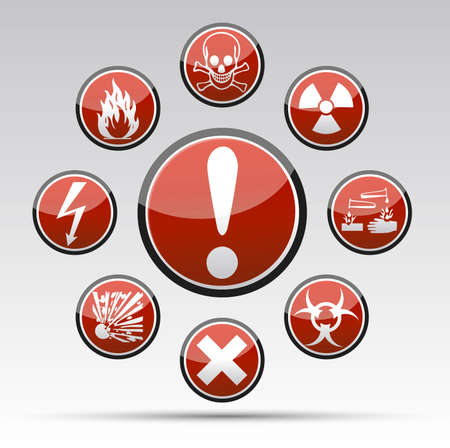Isolated Circle Danger sign collection with black border, reflection and shadow on light background
