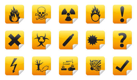 Isolated Danger icon sign collection  set  with shadow on background Stock Photo - 20324025