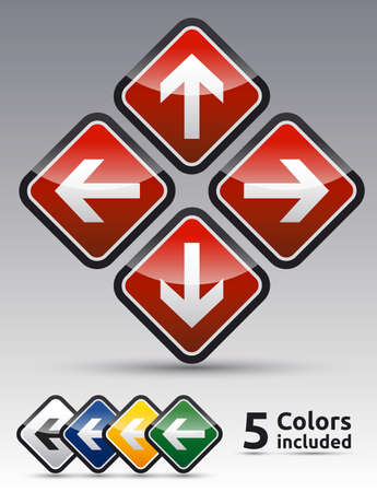Isolated Danger arrow sign collection with black border, reflection and shadow background