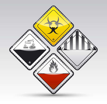 Isolated Danger sign collection with black border, reflection and shadow on light background Stock Photo - 20334422