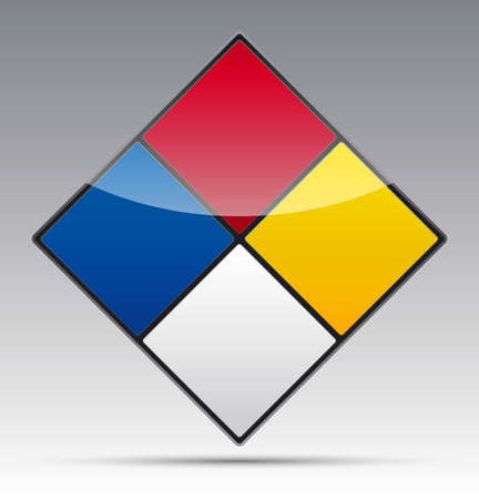 Isolated Danger Hazard sign icon with reflection and shadow on background