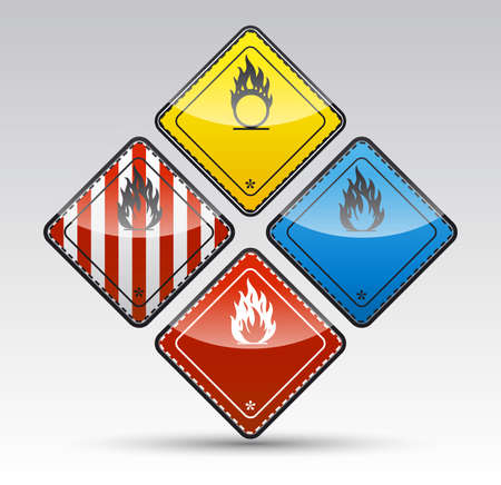 Isolated Danger flammable sign collection with black border, reflection and shadow on light background Stock Photo - 20334433