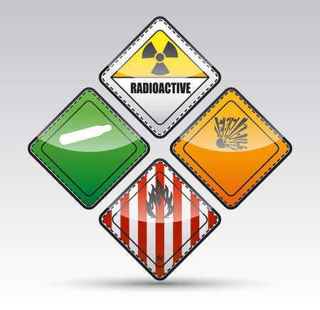 Isolated Danger sign collection with black border, reflection and shadow on light background Stock Photo - 20334426