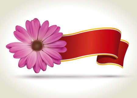 Pink flower with red ribbon for your text  Illustration