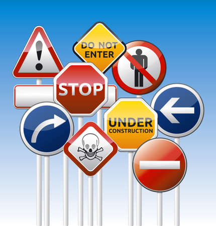 website traffic: Isolated vector danger road board, warning, prohibition collection with reflection