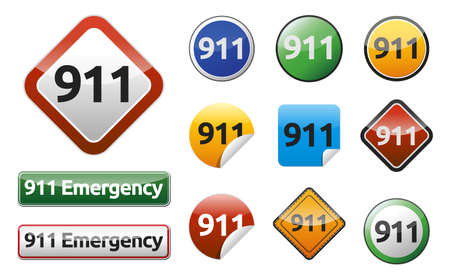Differently Emergency call 911 isolated button collection  Illustration