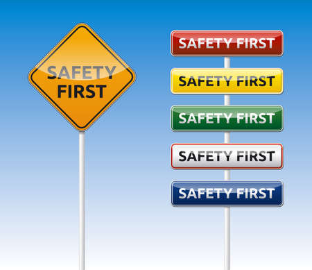 safety first: Isolated vector Safety first board collection with reflection  Illustration