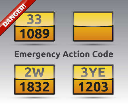 oxidizer: Emergency Action Code - Danger liquid sign collection with reflection and shadow