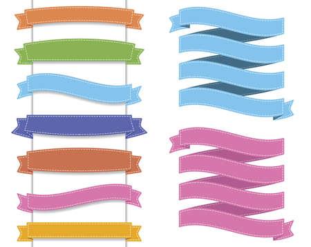 Metin için beyaz çizgi sınır ve gölge ile farklı renkli kurdele koleksiyonu Illustration