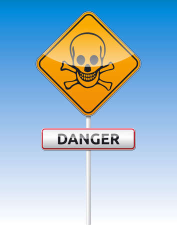 Isolated vector Skull, Danger traffic board with reflection  Stock Vector - 21036590