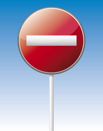 Isolated vector one way traffic board with reflection