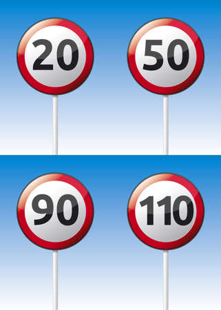 Isolated vector speed limit traffic road board with reflection and background