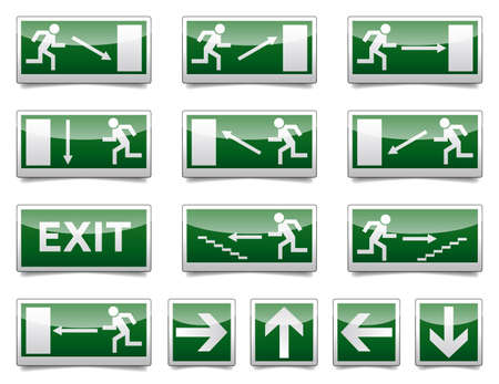 emergency exit icon: Isolated warning, exit, emergency sign collection with reflection and shadow on white background