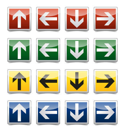 bellow: Isolated warning, exit, emergency sign collection with reflection and shadow on white background