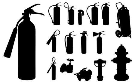 departamentos: 12 Extintor de incendios, tomas de agua y otros accesorios de la silueta Vectores