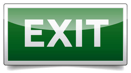 Isolated exit, emergency sign with reflection and shadow on white background
