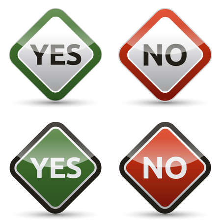 no sign: YES - NO color board with shadow on white background