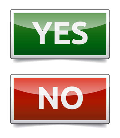 YES - NO color board with shadow on white background  Vector