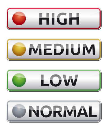 높음, 중간, 낮음, 보통 레이블 격리 된 벡터와 위험 보드 일러스트