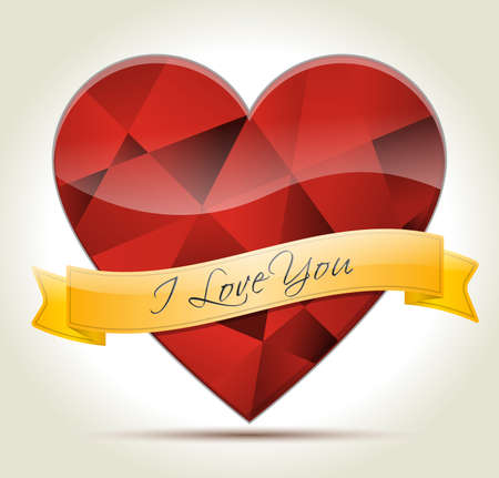 Red diamond Heart with gold ribbon and I LOVE YOU message for your partner Stock Vector - 21744235
