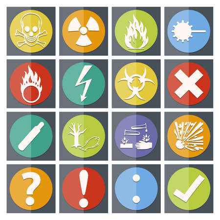 oxidizer: Isolated old style vector Danger sign collection  set  with shadow on background