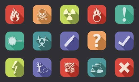 toxic substance: Flat design, long shadow danger vector icons