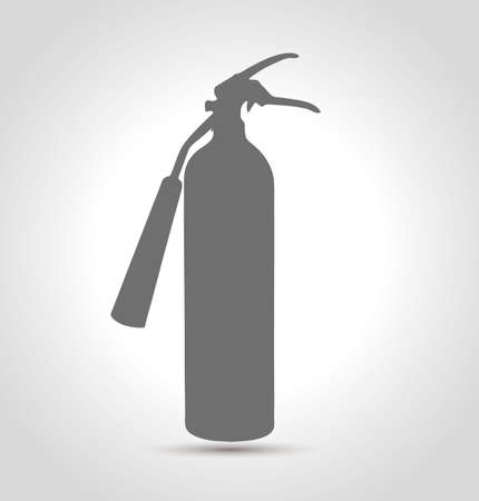 Isolated Fire extinguisher silhouette with shadow on light background