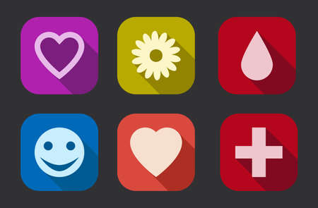 Flat design, long shadow love, emotion vector icons collection  set