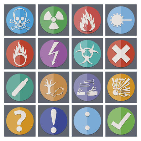 oxidant: Isolated old style Danger sign collection (set) with shadow on background