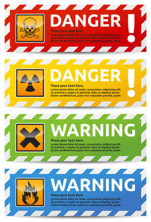 warning signs: Danger sign banner with warning text. Isolated, multi color version on white background.