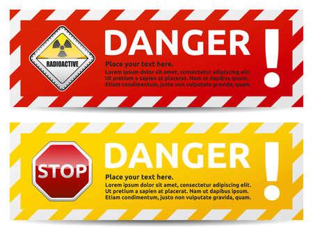 警告テキストと危険サイン バナー。分離・ マルチカラー白背景バージョンです。  イラスト・ベクター素材