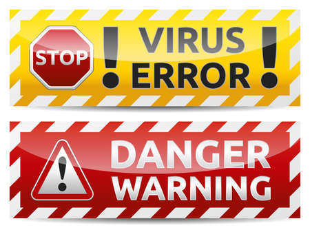 Danger virus warning and danger banner. Isolated, multicolor version on white background. Vector
