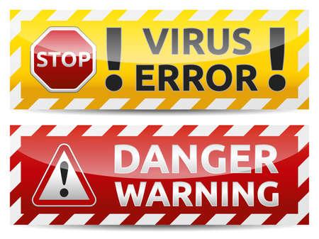 Tehlike virüs uyarısı ve tehlike afiş. Beyaz zemin üzerine izole renkli versiyonu.