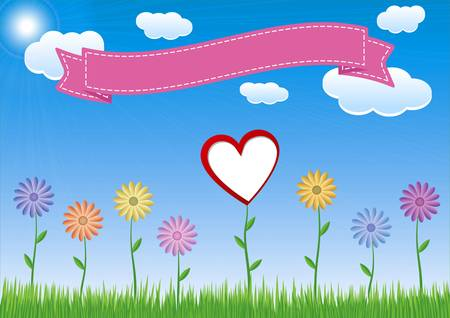 Flower, grass, cloud, blue sky, big red heart and ribbon for your text.