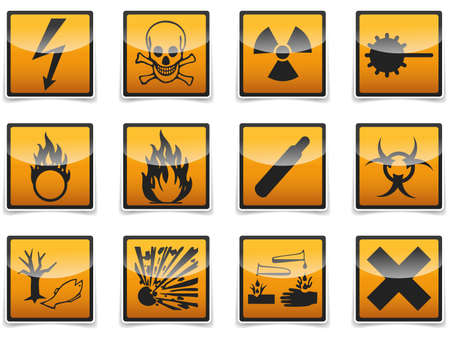 oxidizer: Isolated Danger, hazard sign, icon collection with shadow on white background.