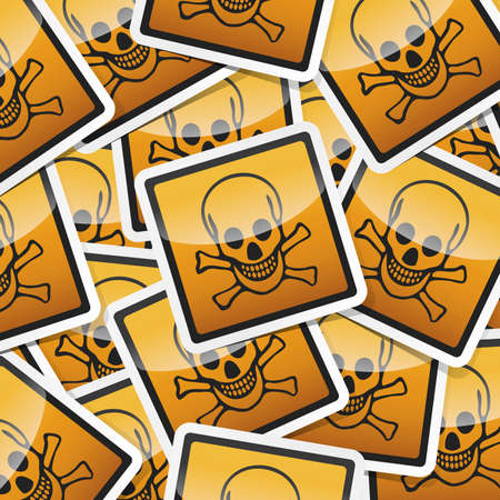 oxidizer: Danger, hazard sign, icon sticker style collection with shadow.