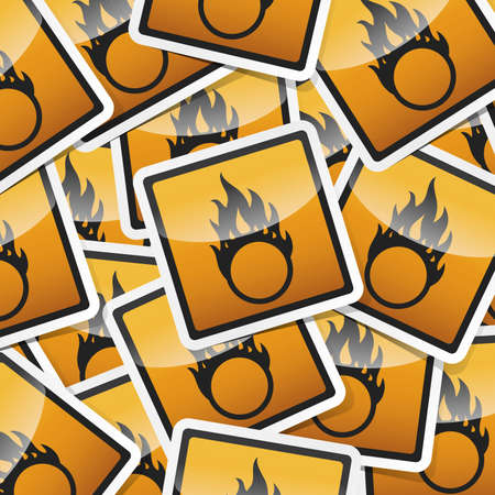 Danger, hazard sign, icon sticker style collection with shadow.