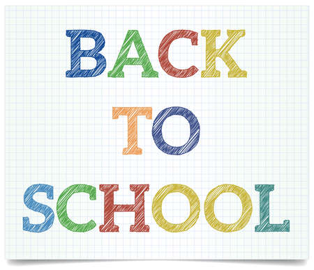 Back to school - pen style text on exercise book paper. Stock Vector - 22015294