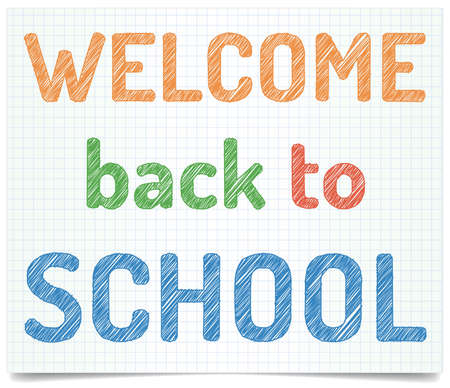welcome desk: Welcome back to school - pen style text on exercise book paper. Illustration