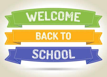 Okula geri geldiniz - gölge ile renklendirilen şeritler üzerinde kalem tarzı metin.